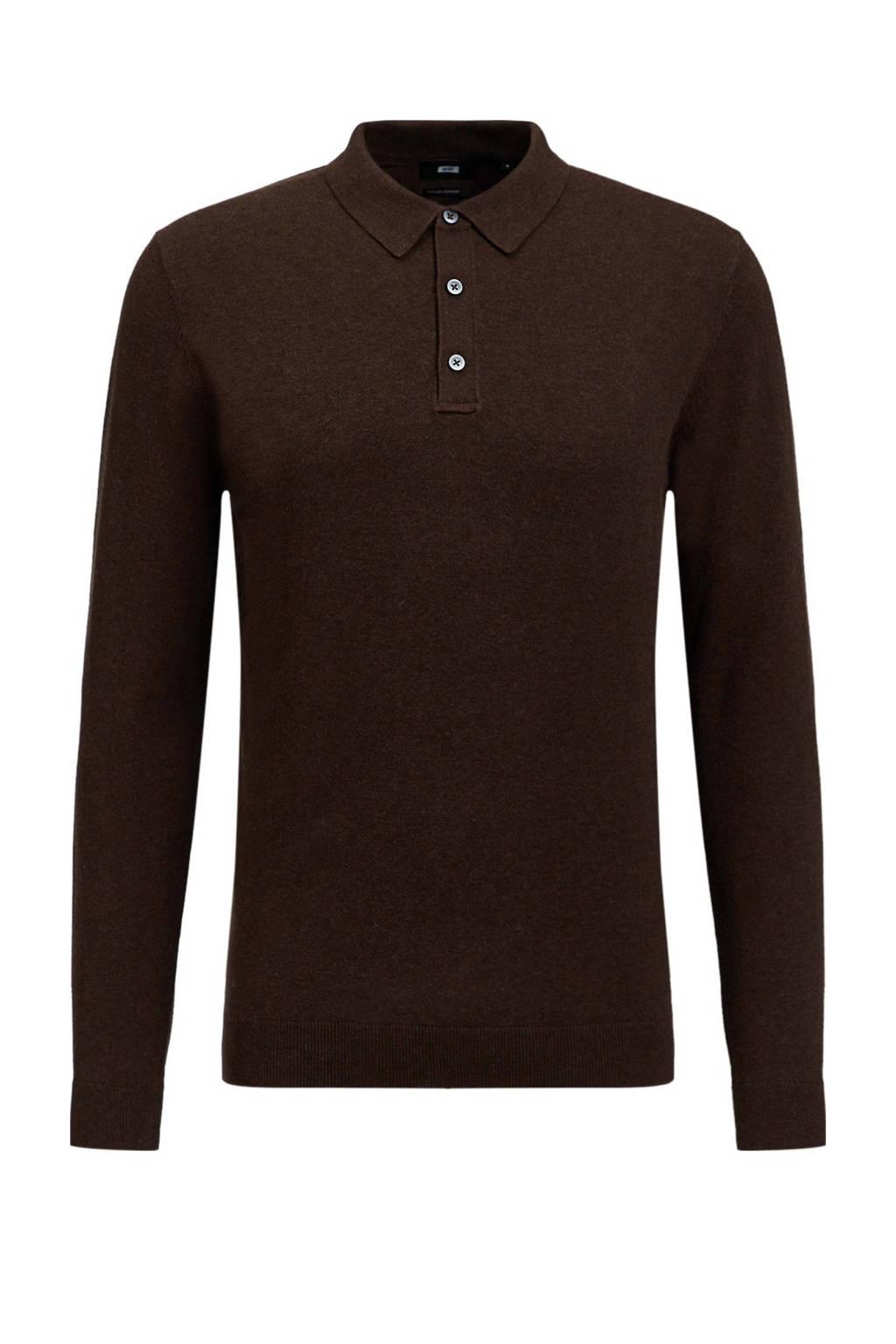 WE Fashion Fundamentals fijngebreide slim fit polo bruin, Bruin