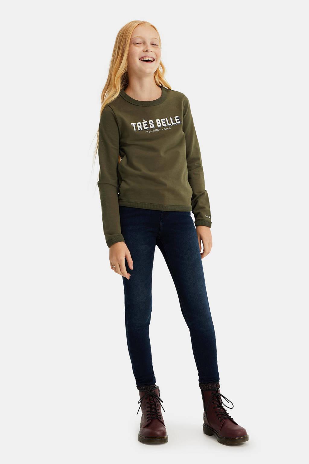 WE Fashion sweater met tekst en borduursels kaki, Kaki