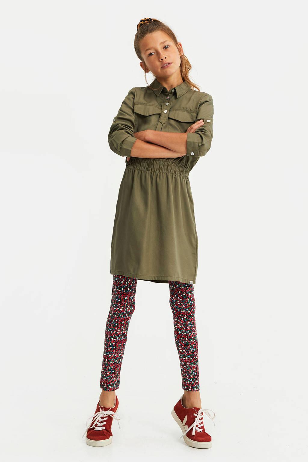 WE Fashion gebloemde legging donkerblauw/rood/groen, Donkerblauw/rood/groen