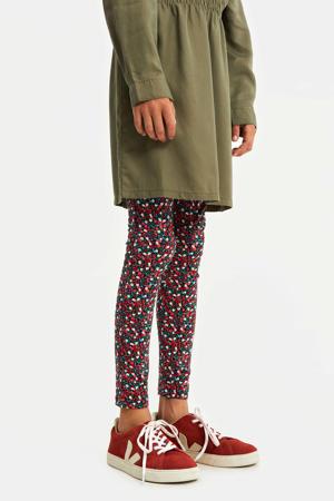 gebloemde legging donkerblauw/rood/groen