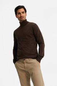 WE Fashion Fundamentals fijngebreide wollen coltrui bruin, Bruin