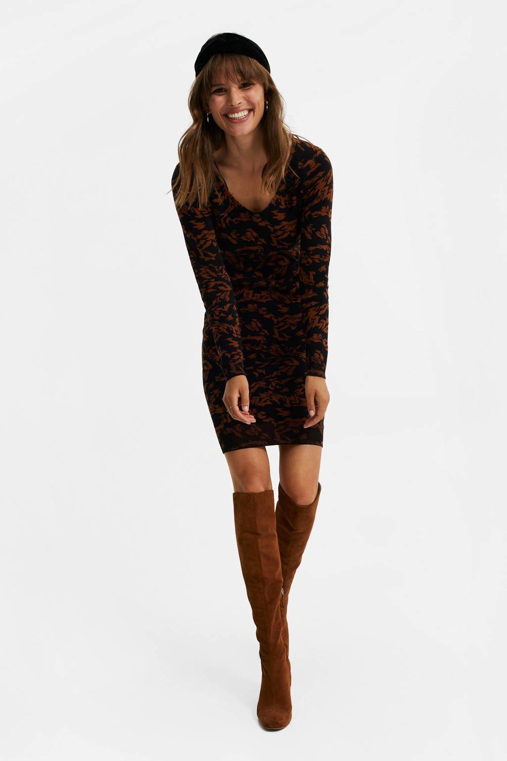 WE Fashion gebreide jurk met jacquard zwart/bruin, Zwart/bruin