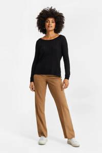 WE Fashion fijngebreide trui zwart, Zwart
