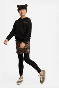 WE Fashion hoodie met borduursels zwart, Zwart