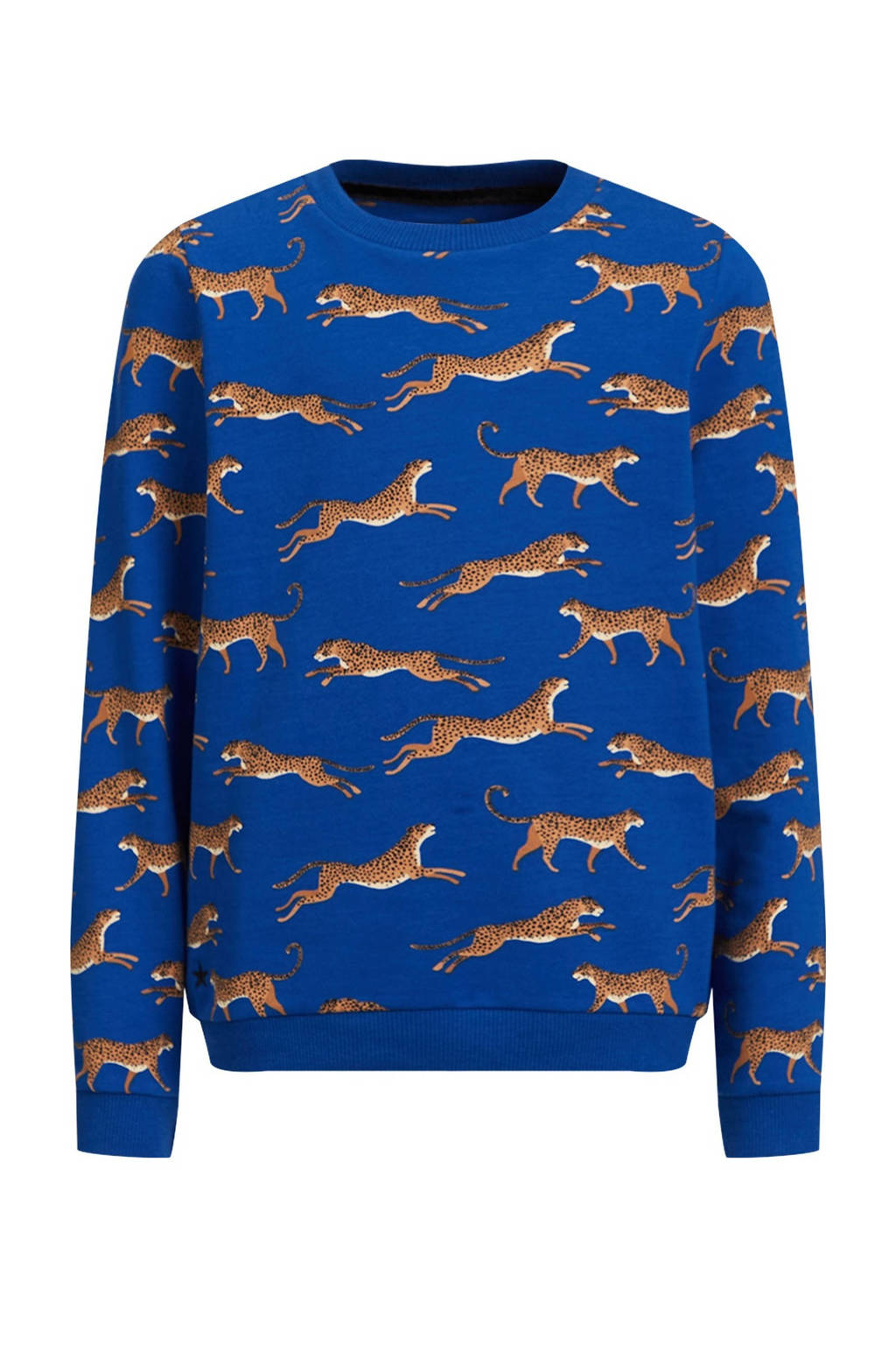 WE Fashion sweater Ginney met all over print blauw, Blauw
