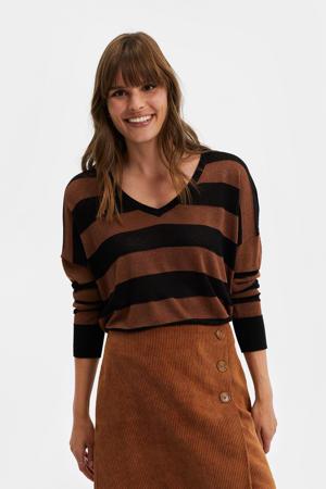 gestreepte fijngebreide trui zwart/bruin