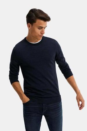 gemêleerde wollen trui donkerblauw
