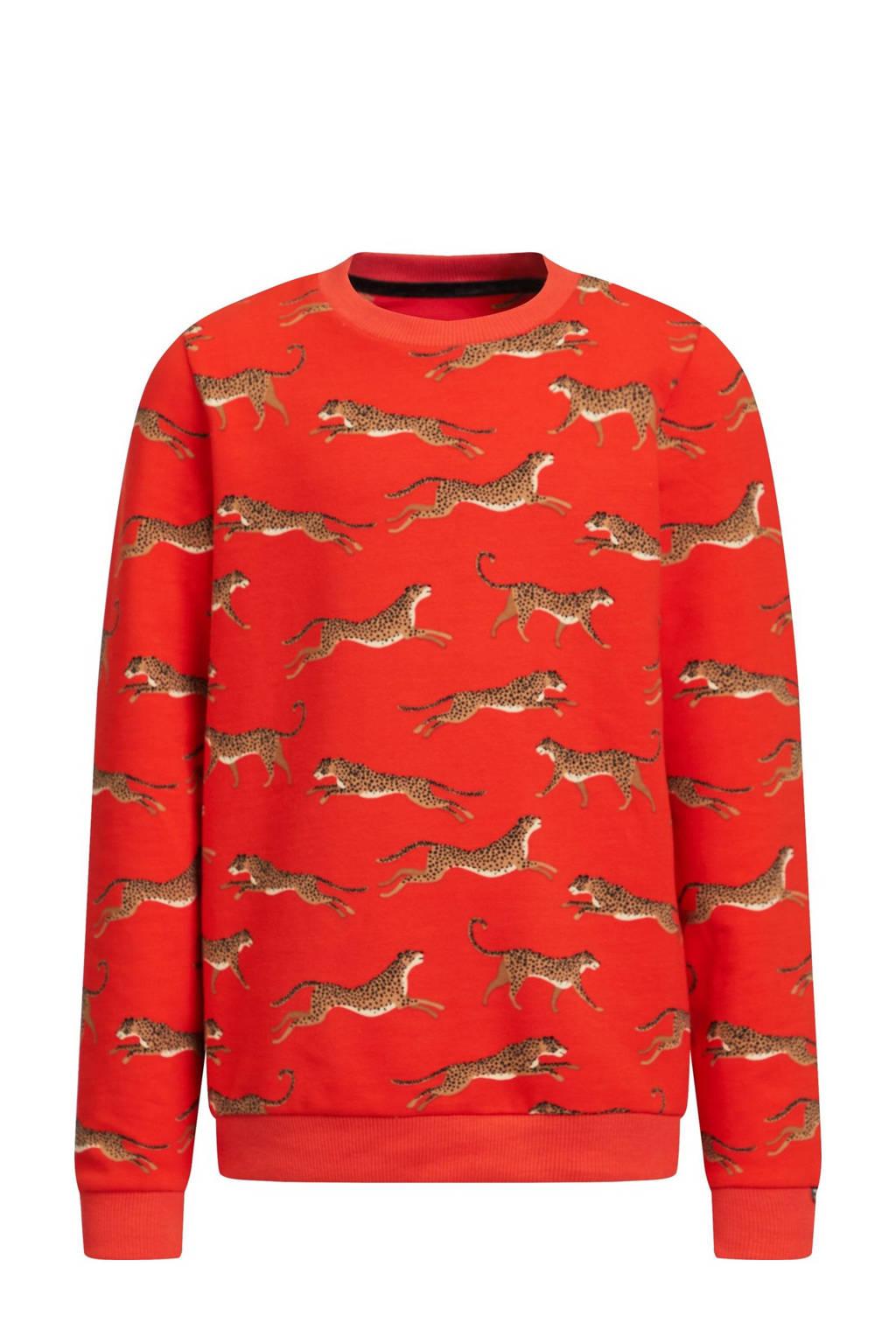 WE Fashion sweater Ginney met all over print oranjerood, Oranjerood