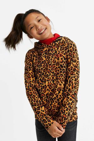 hoodie met panterprint en borduursels bruin/zwart