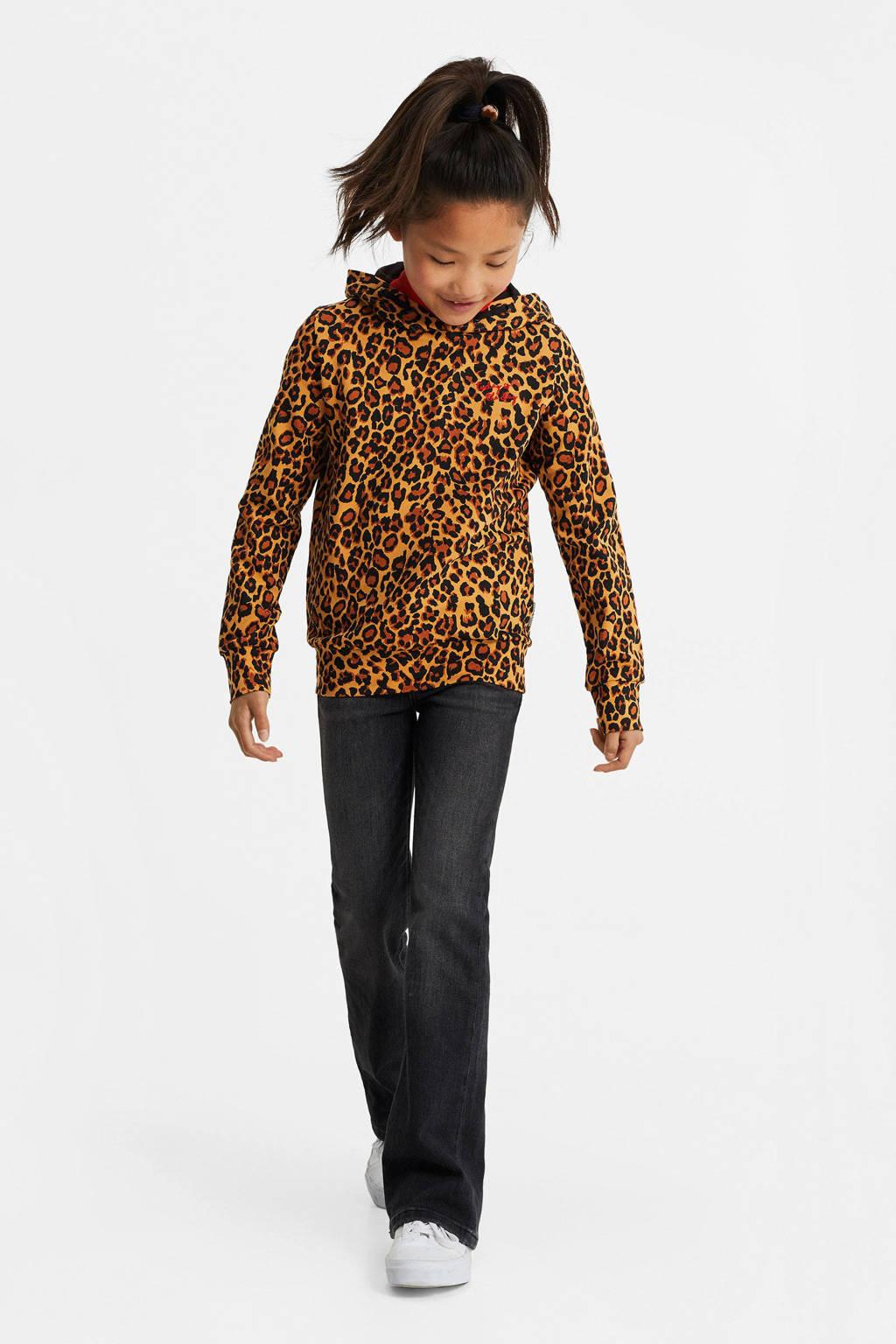 WE Fashion hoodie met panterprint en borduursels bruin/zwart, Bruin/zwart