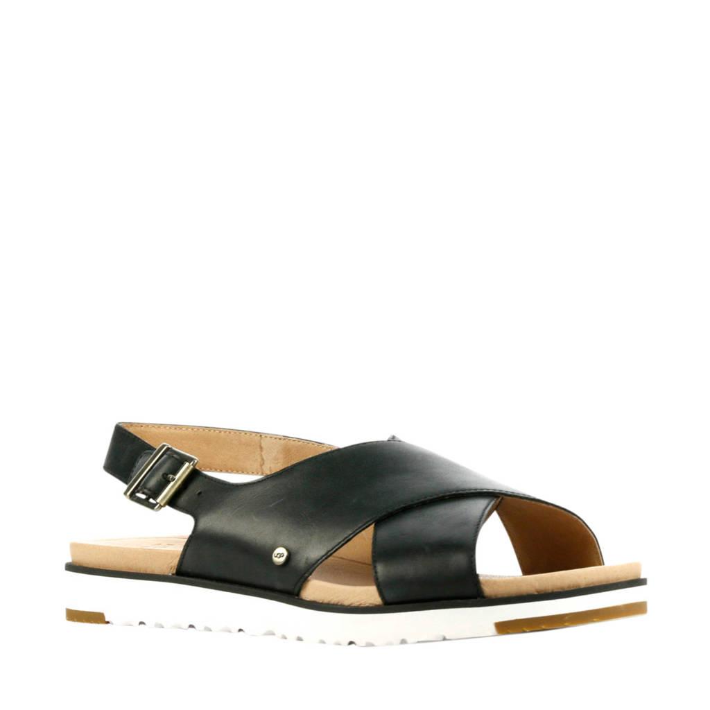 UGG Kamile  leren sandalen zwart, Zwart