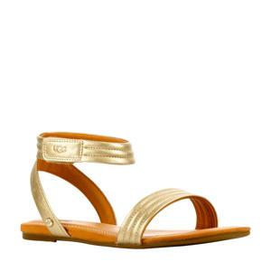 Ethena  leren sandalen goud