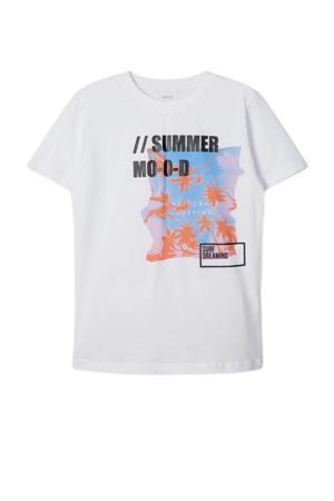 T-shirt Hanjo met printopdruk wit/oranje/zwart