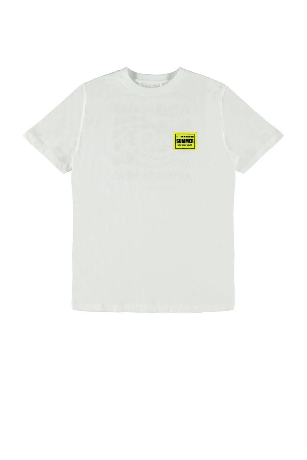 LMTD T-shirt Hanjo met printopdruk wit-zwart, WIT-ZWART
