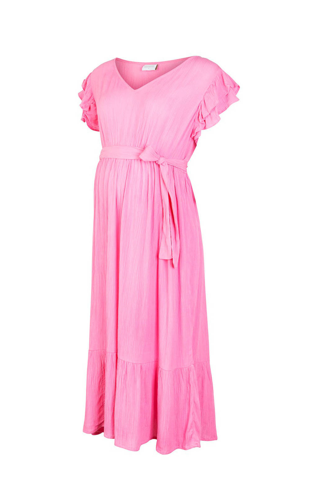 MAMALICIOUS zwangerschapsjurk Larisa en ruches roze, Roze