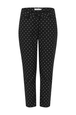 slim fit broek met stippen zwart