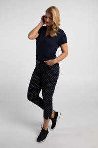 PROMISS slim fit broek met stippen donkerblauw, Donkerblauw