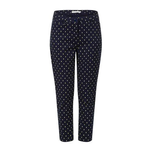 PROMISS slim fit broek met stippen donkerblauw