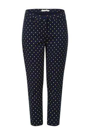 slim fit broek met stippen donkerblauw