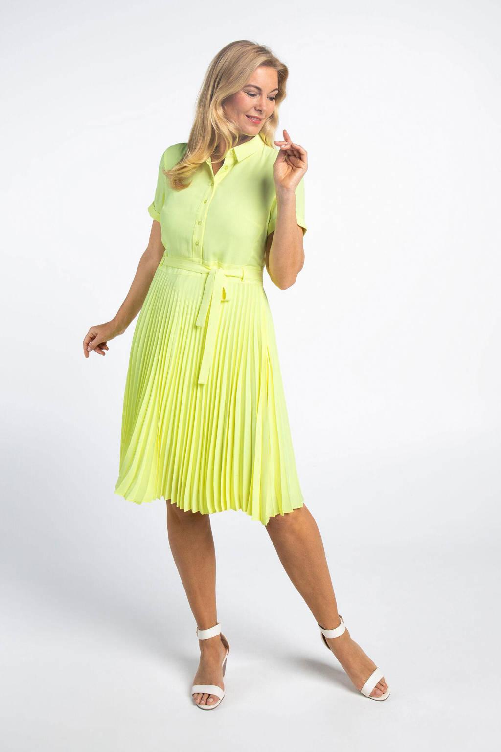 PROMISS jurk met ceintuur neon geel, Neon geel
