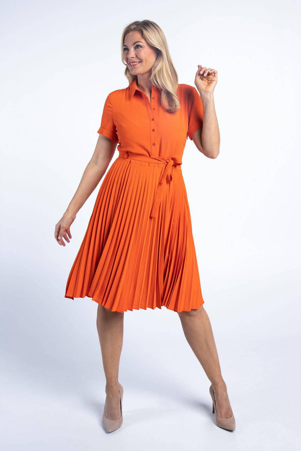 PROMISS jurk met ceintuur oranje, Oranje