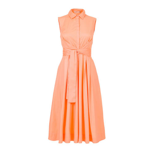 Steps A lijn jurk met plooien oranje