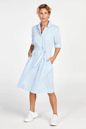 gestreepte blousejurk lichtblauw