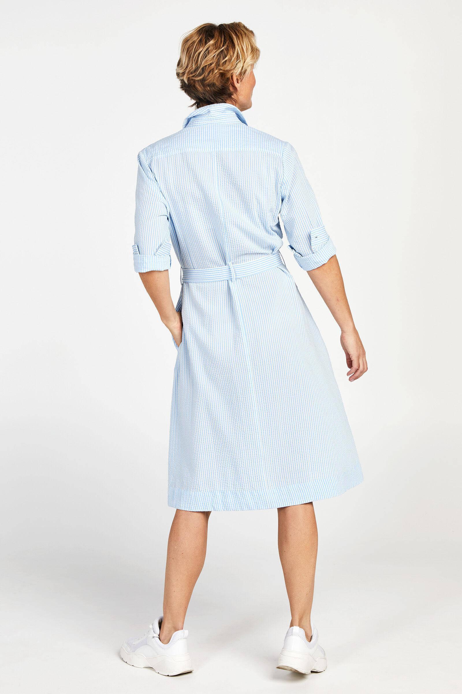 PROMISS gestreepte blousejurk lichtblauw