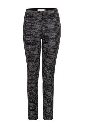 gestreepte cropped tapered fit broek zwart/wit