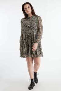MS Mode semi-transparante jurk met zebraprint en volant grijs/zwart, Grijs/zwart