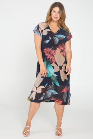 semi-transparante jurk met all over print marine/rood/blauw