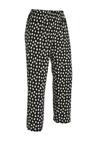 cropped loose fit broek met stippen zwart/wit