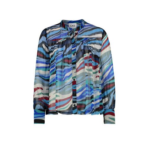 CKS blouse met all over print en plooien blauw/mul