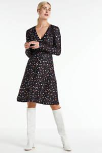 anytime jurk met panterprint zwart, Zwart/brique