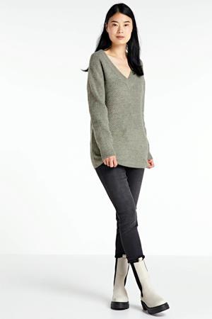 V-hals trui met rib effect lichtgroen