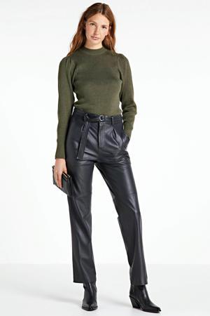 fijngebreide rib trui met pofmouw groen