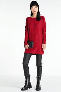 anytime fijngebreide tuniek-trui rood, Rood