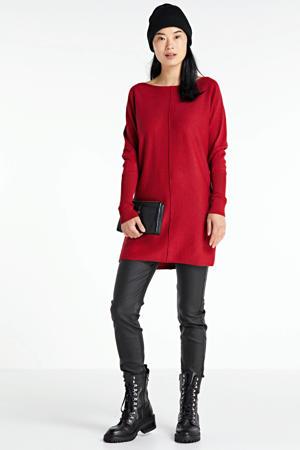 fijngebreide tuniek-trui rood