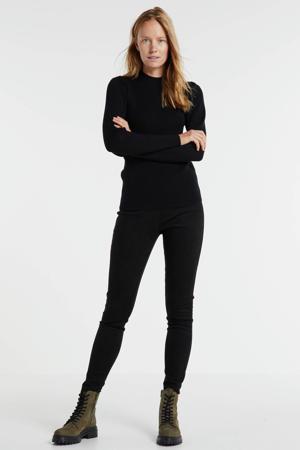 fijngebreide rib trui met pofmouw zwart