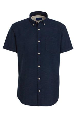 regular fit overhemd van biologisch katoen donkerblauw