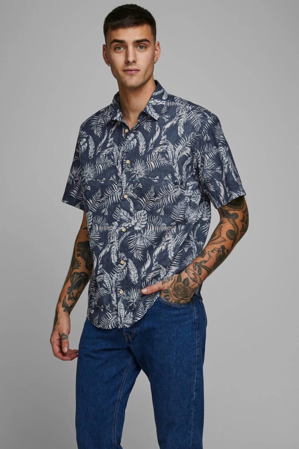 JACK & JONES ORIGINALS regular fit overhemd met all over print donkerblauw, Donkerblauw