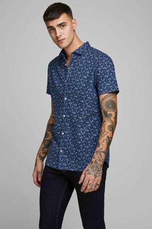 gebloemd regular fit overhemd met linnen donkerblauw