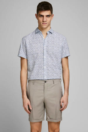 gebloemd regular fit overhemd met linnen blauw/wit