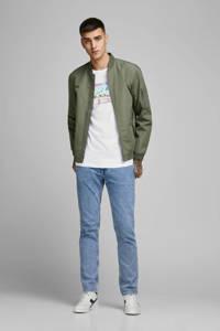 JACK & JONES ORIGINALS T-shirt met printopdruk wit/blauw/groen, Wit/blauw/groen