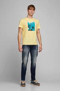 JACK & JONES ORIGINALS T-shirt met printopdruk geel/blauw, Geel/blauw