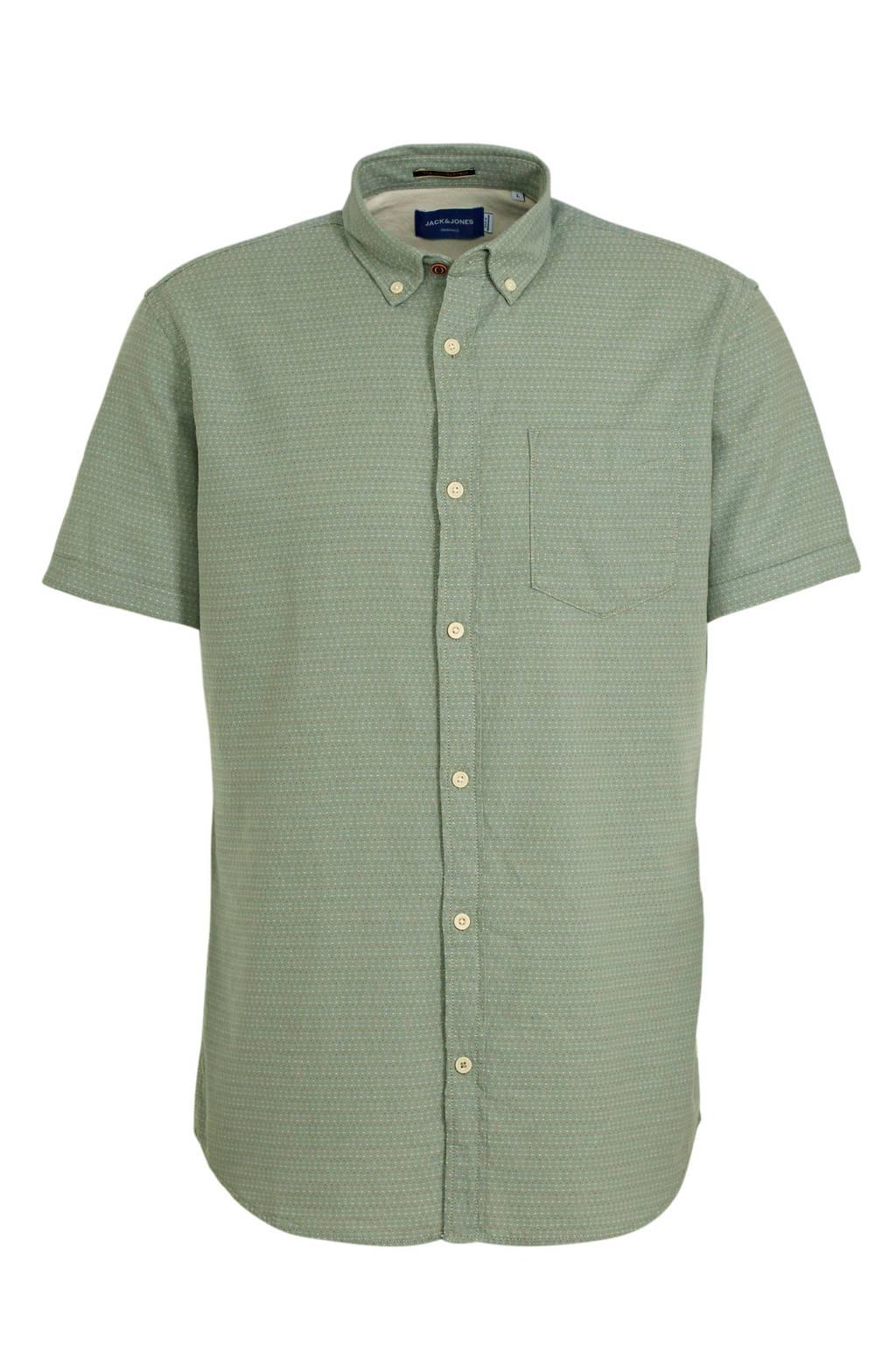JACK & JONES ORIGINALS regular fit overhemd van biologisch katoen lichtgroen, Lichtgroen