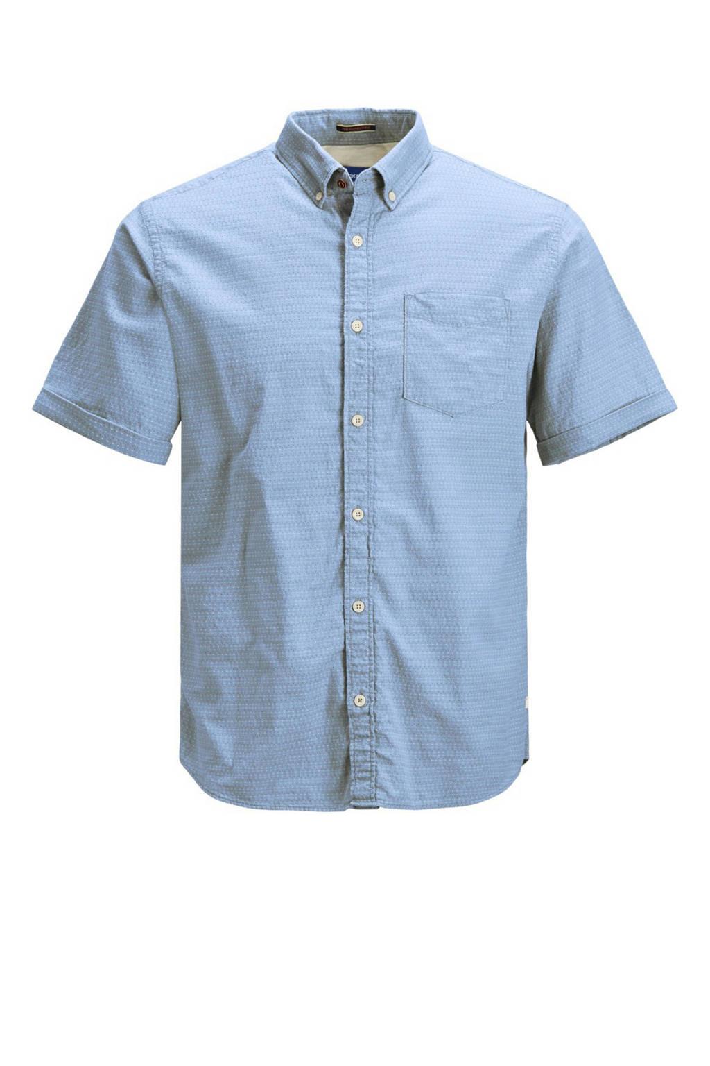 JACK & JONES ORIGINALS regular fit overhemd van biologisch katoen lichtblauw, Lichtblauw