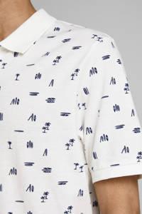 JACK & JONES ORIGINALS slim fit polo met all over print wit, Wit
