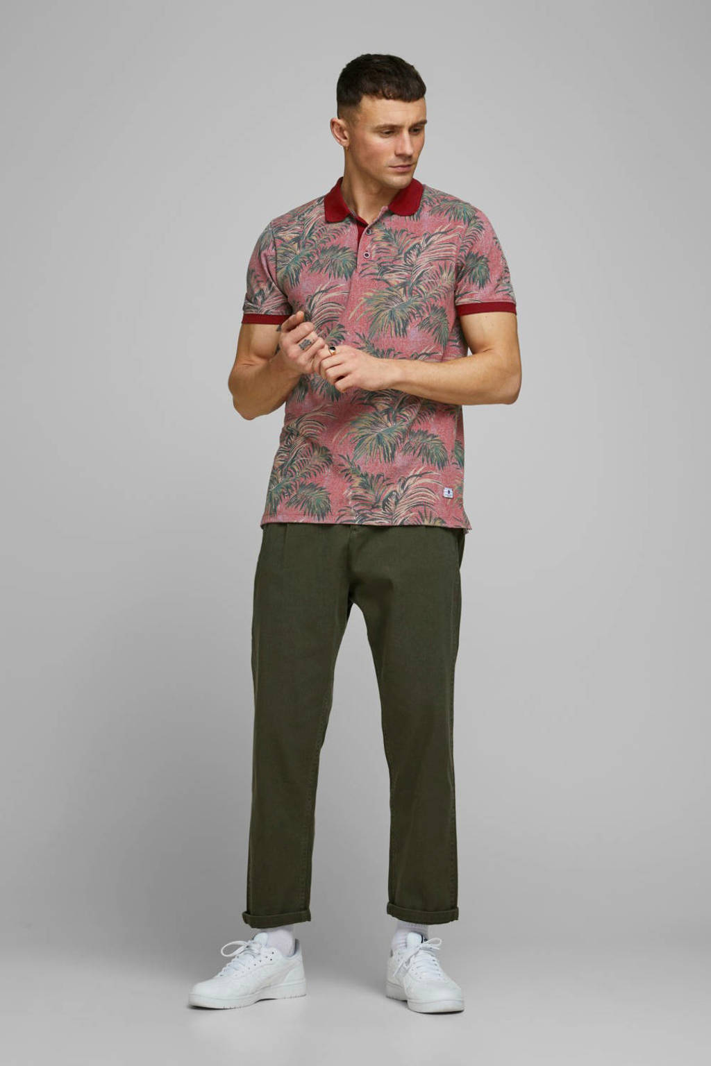 JACK & JONES PREMIUM regular fit polo met all over print donkerrood, Donkerrood