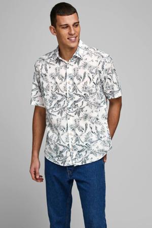regular fit overhemd met all over print wit/zwart